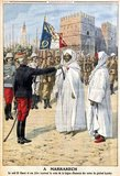 The French Protectorate in Morocco (Arabic: حماية فرنسا في المغرب‎ Himaïet Fransa fi El-Maghreb; French: Protectorat français au Maroc) was established by the Treaty of Fez.<br/><br/>  It existed from 1912, when a protectorate was formally established, until Moroccan independence (2 March 1956), and consisted of the area of Morocco between the Corridor of Taza and the Draa River. The establishment of the French protectorate of Morocco followed centuries-long France-Morocco relations.